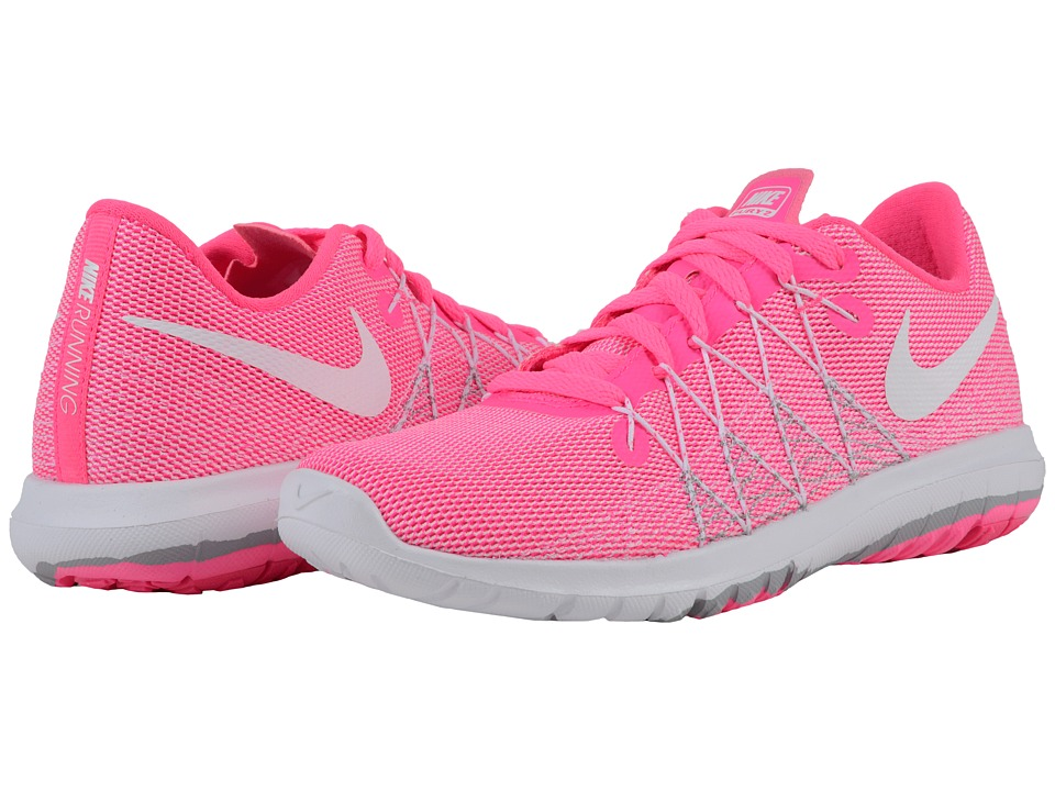 Nike Kids - Flex Fury 2 (Big Kid) (Pink Blast/Wolf Grey/White) Girls Shoes