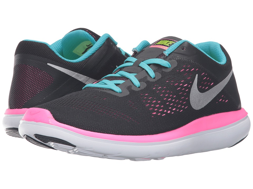 Nike Kids - Flex 2016 RN (Big Kid) (Black/Gamma Blue/Pink Blast/Volt) Girls Shoes