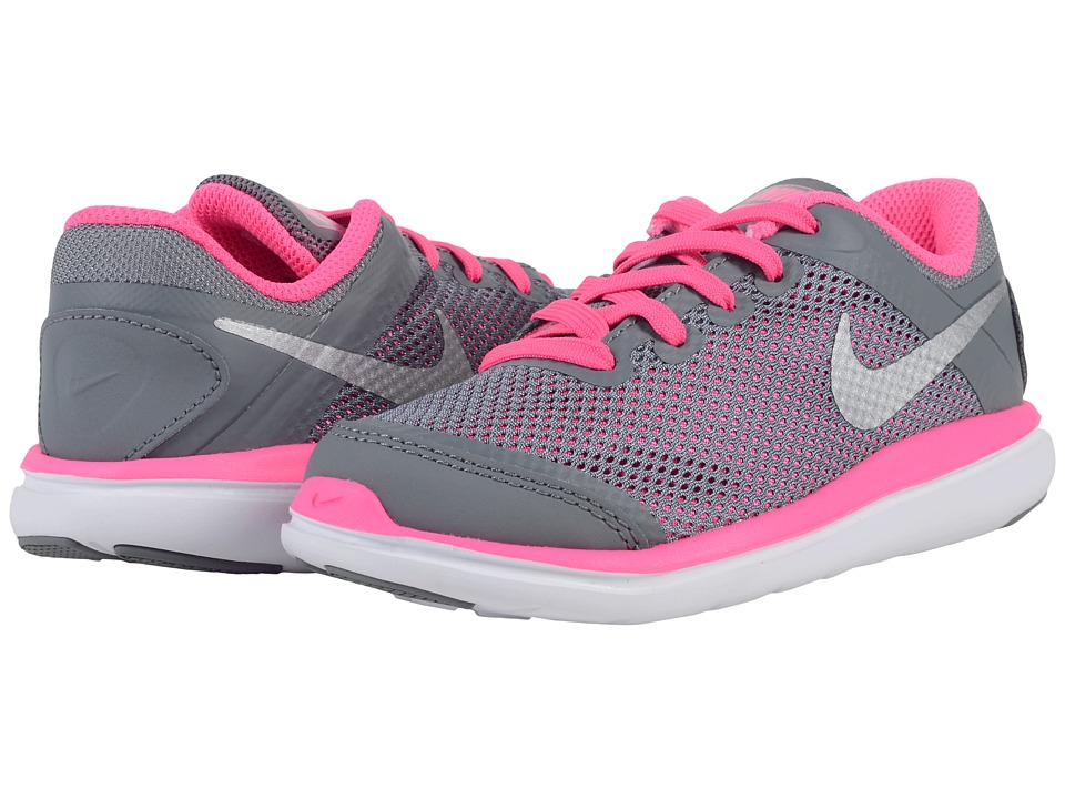 Nike Kids - Flex 2016 RN (Little Kid) (Cool Grey/Black/Pink Blast/Metallic Silver) Girls Shoes