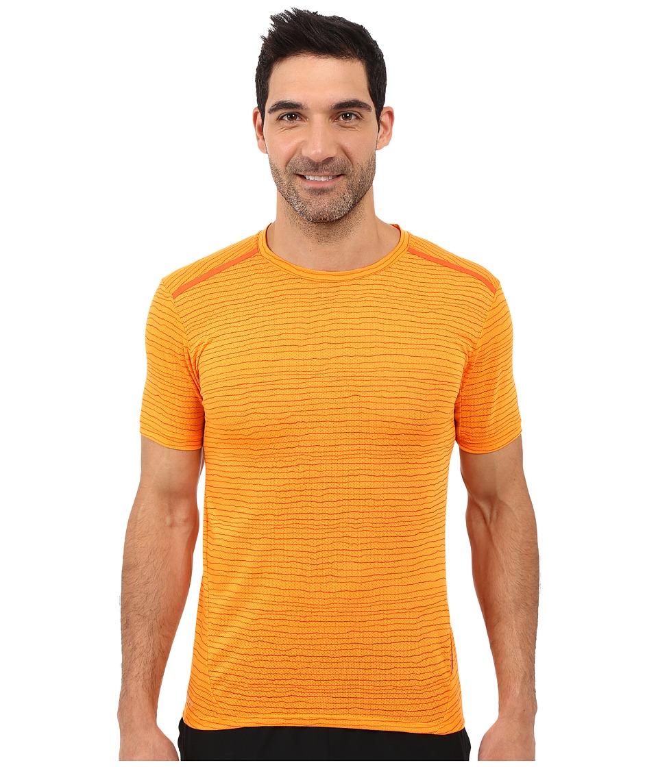 Nike Dri-FITtm Cool Tailwind Stripe Running Shirt (Vivid Orange/Reflective Silver) Men