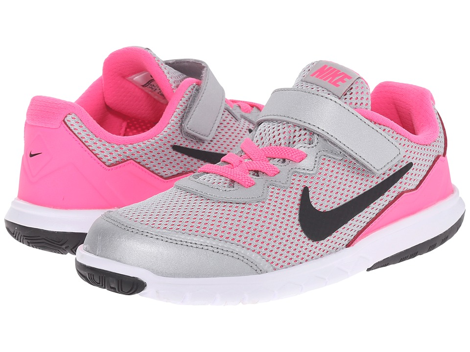Nike Kids - Flex Experience 4 (Little Kid) (Metallic Silver/White/Pink Pow/Black) Girls Shoes