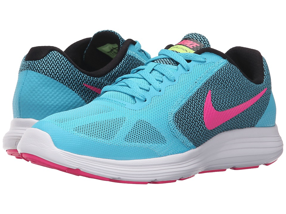 Nike Kids - Revolution 3 (Big Kid) (Gamma Blue/Black/White/Pink Blast) Girls Shoes