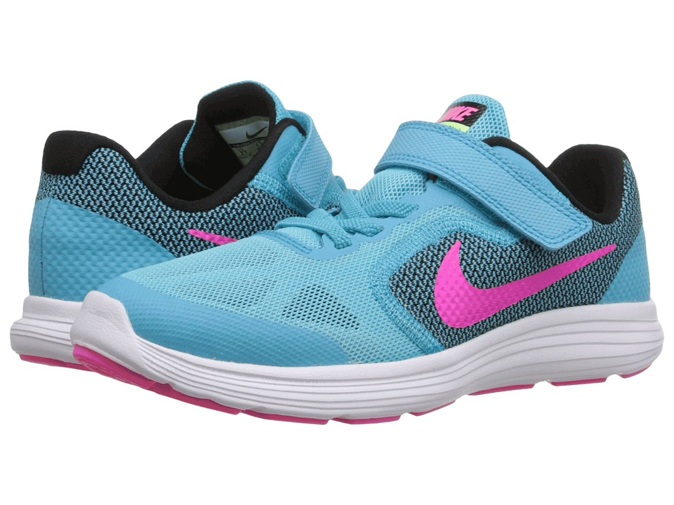 Nike Kids - Revolution 3 (Little Kid) (Gamma Blue/Black/White/Pink Blast) Girls Shoes
