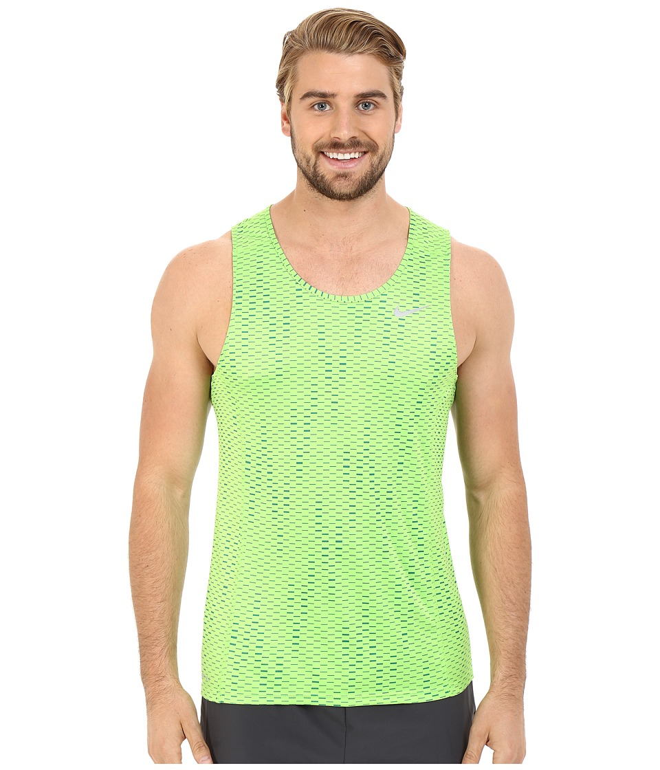 Nike - Dri-FITtm Miler Fuse Running Singlet (Action Green/Reflective Silver) Men's Sleeveless