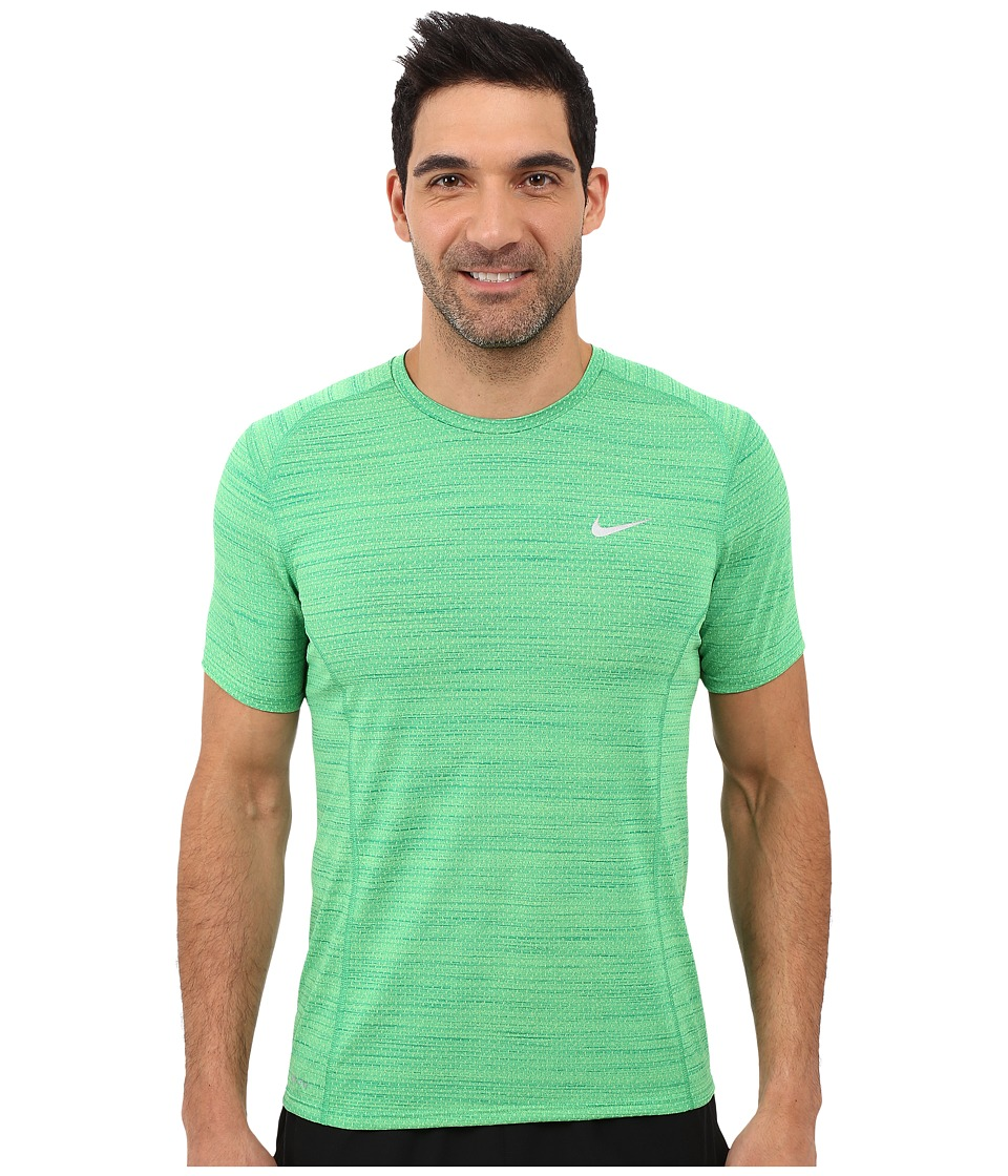 Nike Dry Miler Short Sleeve Running Top (Action Green/Rio Teal/Reflective Silver) Men