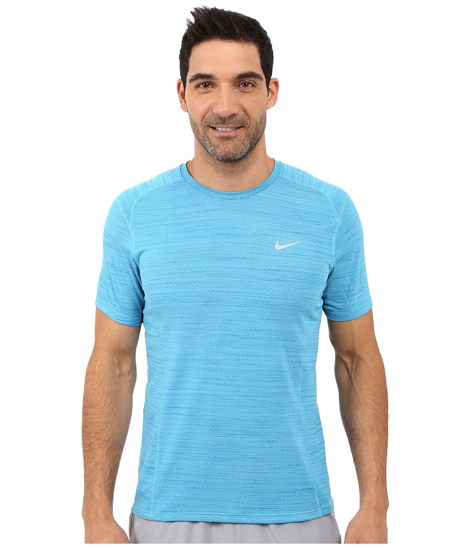 Nike Dry Miler Short Sleeve Running Top (Omega Blue/Light Photo Blue/Reflective Silver) Men