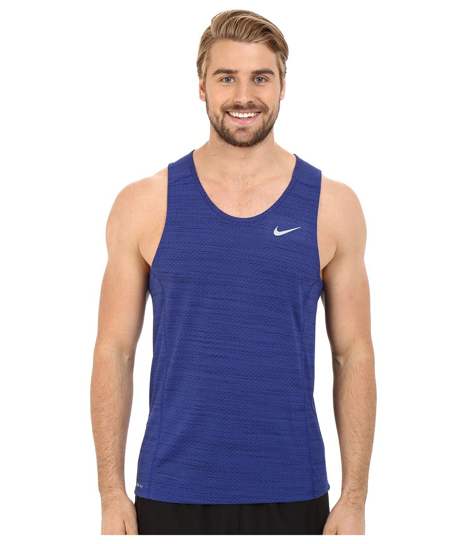 Nike - Dry Miler Running Tank (Deep Royal Blue/Obsidian/Reflective Silver) Men's Sleeveless