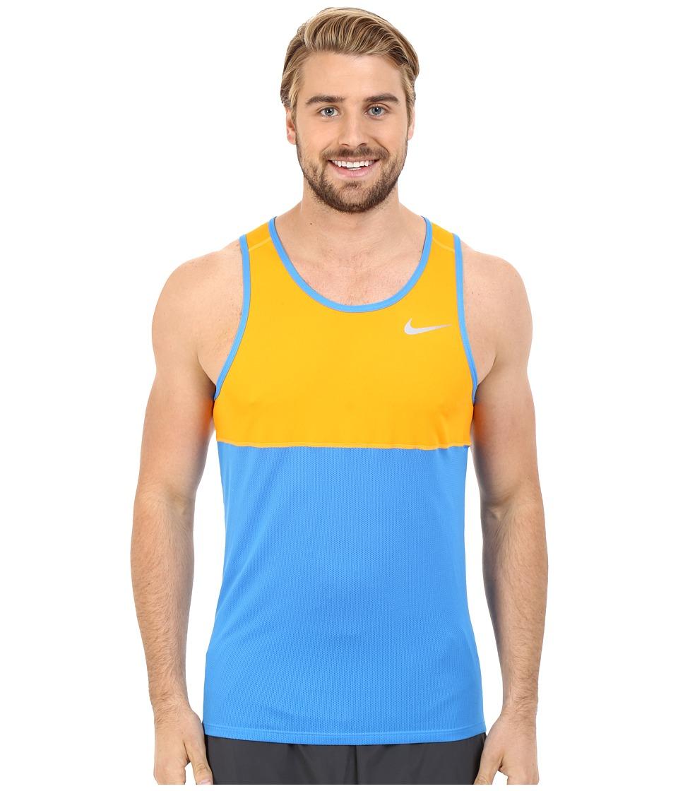 Nike - Dry Running Tank (Ligt Photo Blue/Vivid Orange/Light Photo Blue/Reflective Silver) Men's Sleeveless