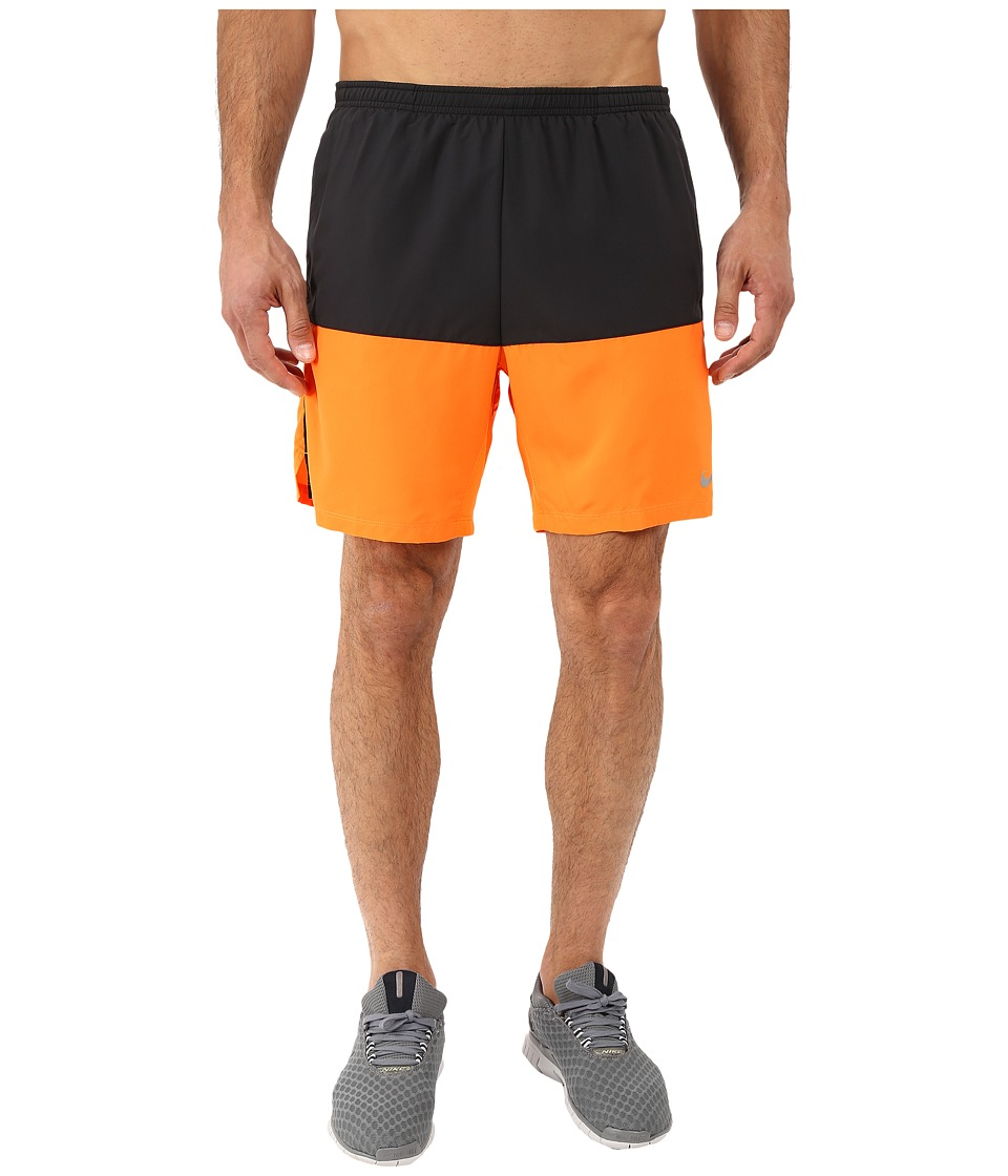 Nike - 7 Distance Running Short (Black/Vivid Orange/Reflective Silver) Men's Shorts