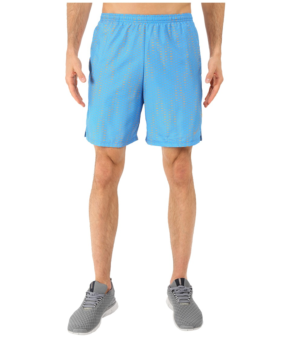 Nike - 7 Challenger Fuse Shorts (Light Photo Blue/Vivid Orange/Reflective Silver) Men