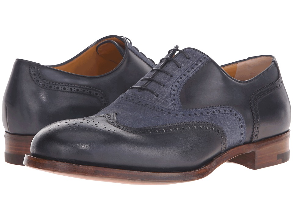 a. testoni - Delave Calf and Linen Suede Flex Oxford (Navy/Jeans) Men's Lace up casual Shoes