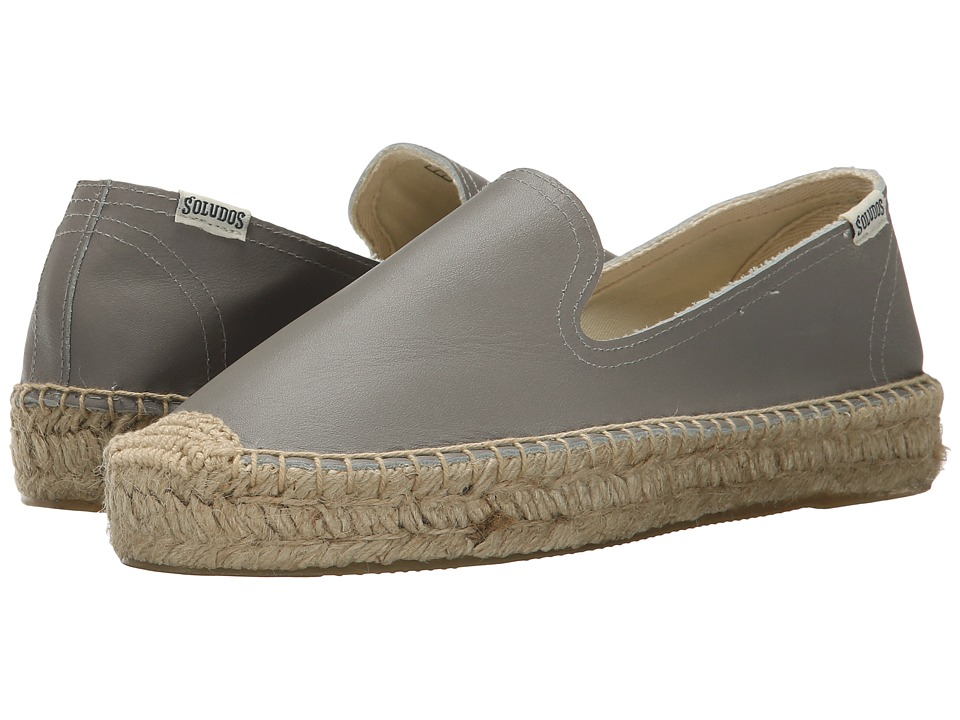 Soludos Platform Smoking Slipper Leather (Dolphin Gray) Women