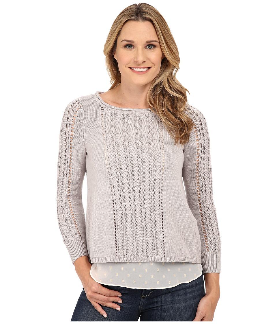 Lucky Brand - Metallic Mixed Sweater (Silver) Women's Sweater