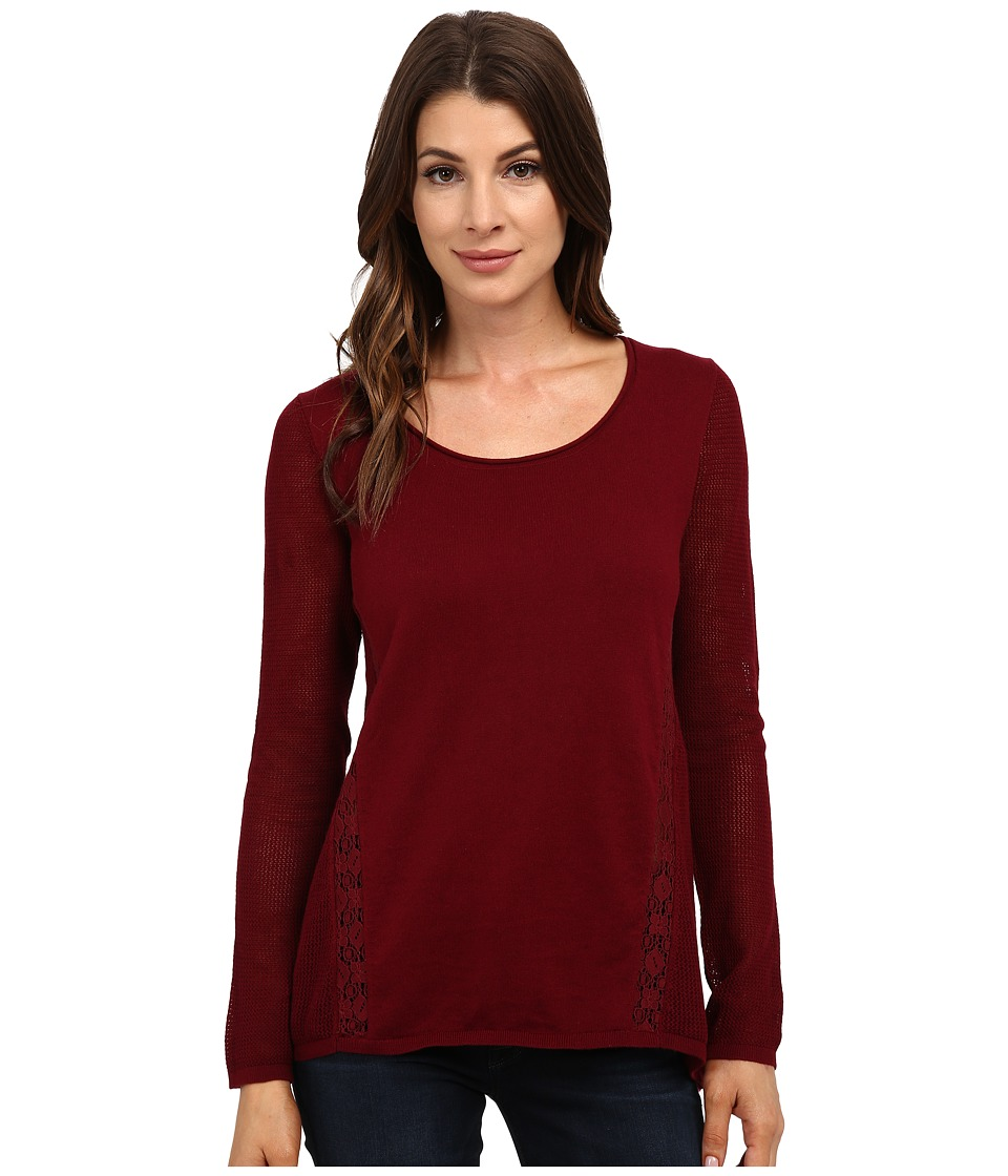 Lucky Brand - Inset Lace Tunic (Mixed Berry) Women's Blouse