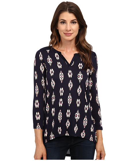Lucky Brand - Ikat Ditsy Henley (Blue Multi) Women's Clothing