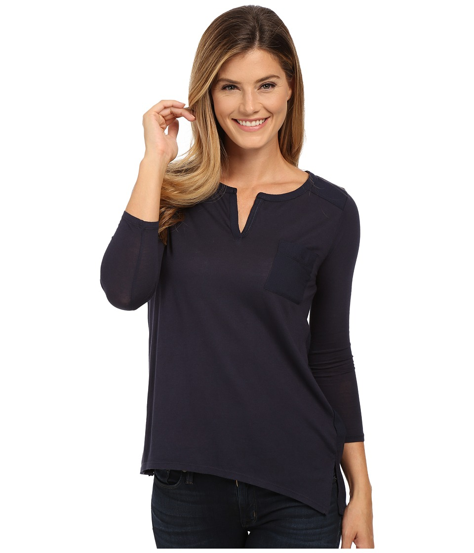 Lucky Brand - Dobby Mixed Henley (American Navy) Women's Clothing