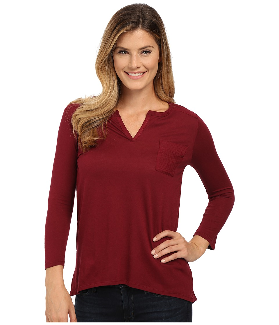 Lucky Brand - Dobby Mixed Henley (Mixed Berry) Women's Clothing