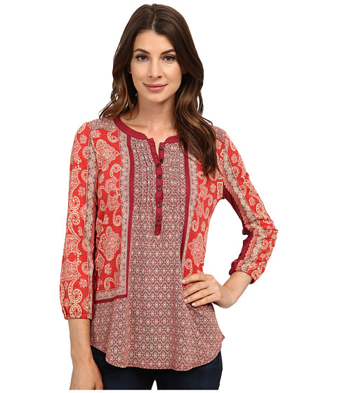 Lucky Brand - Scarf Print Henley (Red Multi) Women's Clothing
