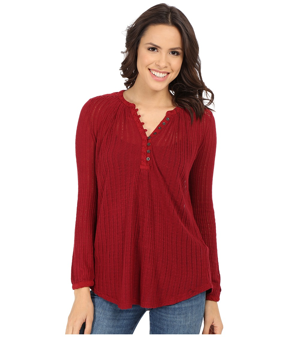 Lucky Brand - Textured Henley (Burgundy) Women's Blouse