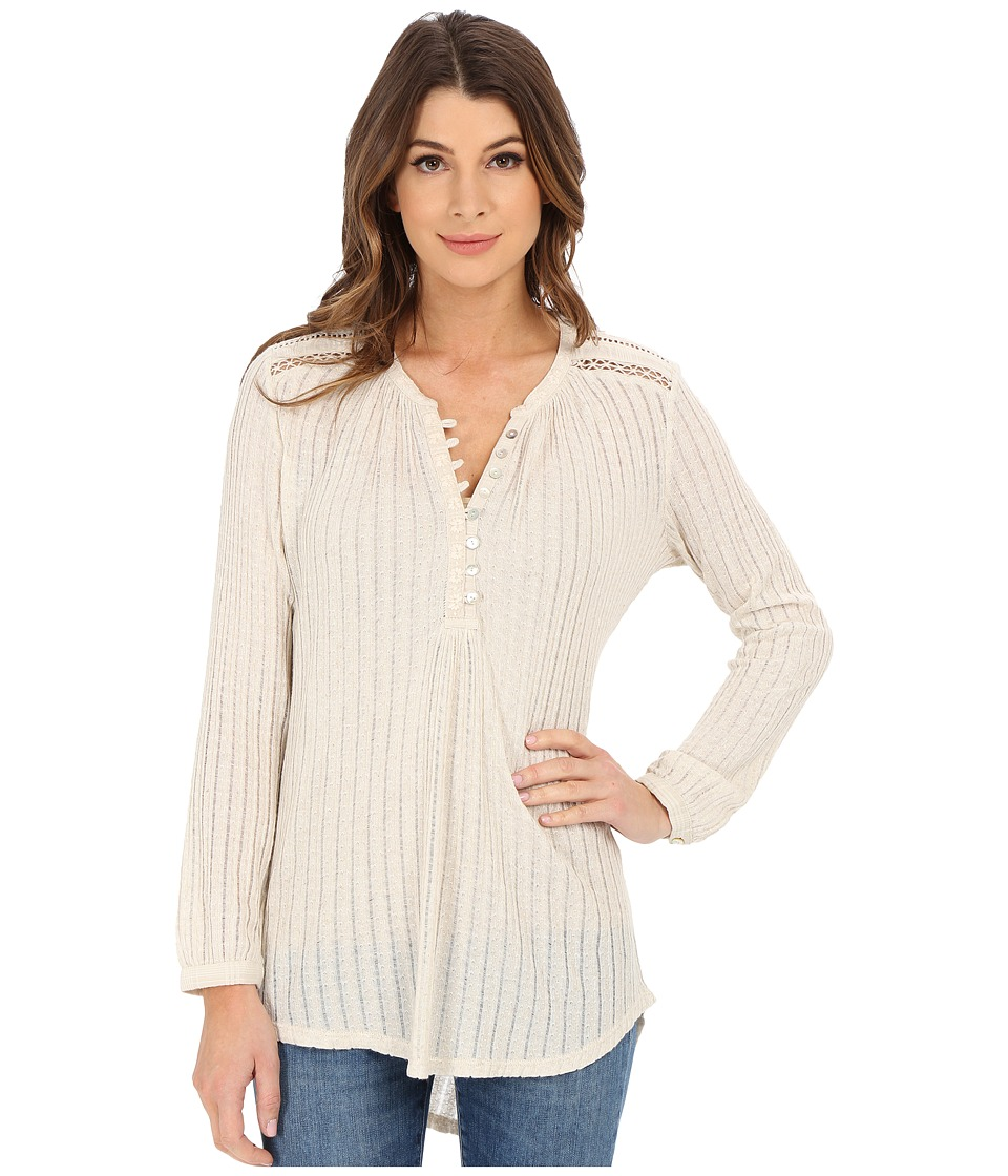 Lucky Brand - Textured Henley (Oatmeal) Women's Blouse