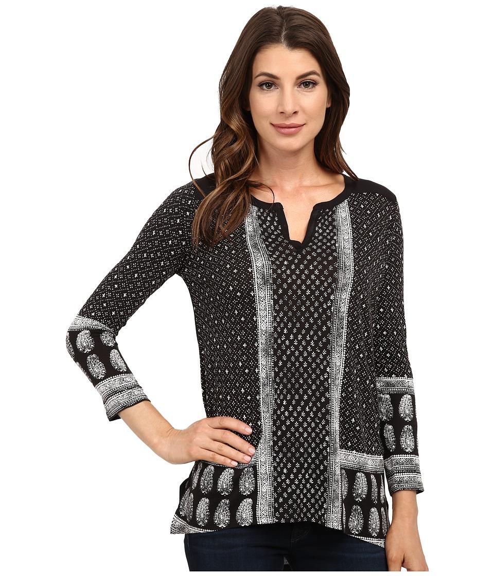 Lucky Brand - Border Paisley Henley (Black Multi) Women's Clothing