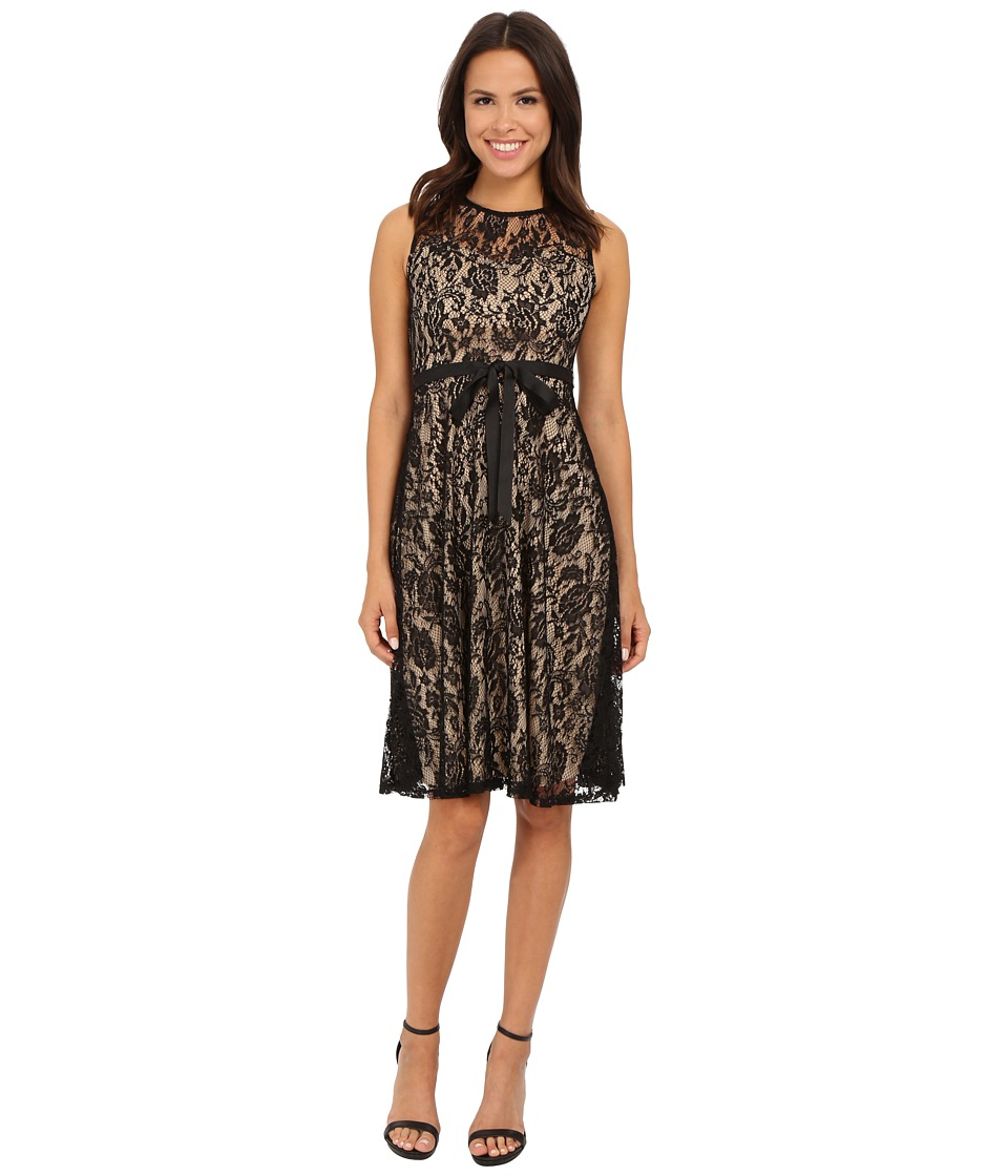 Christin Michaels Faith Lace Sleeveless Dress (Black/Tan) Women