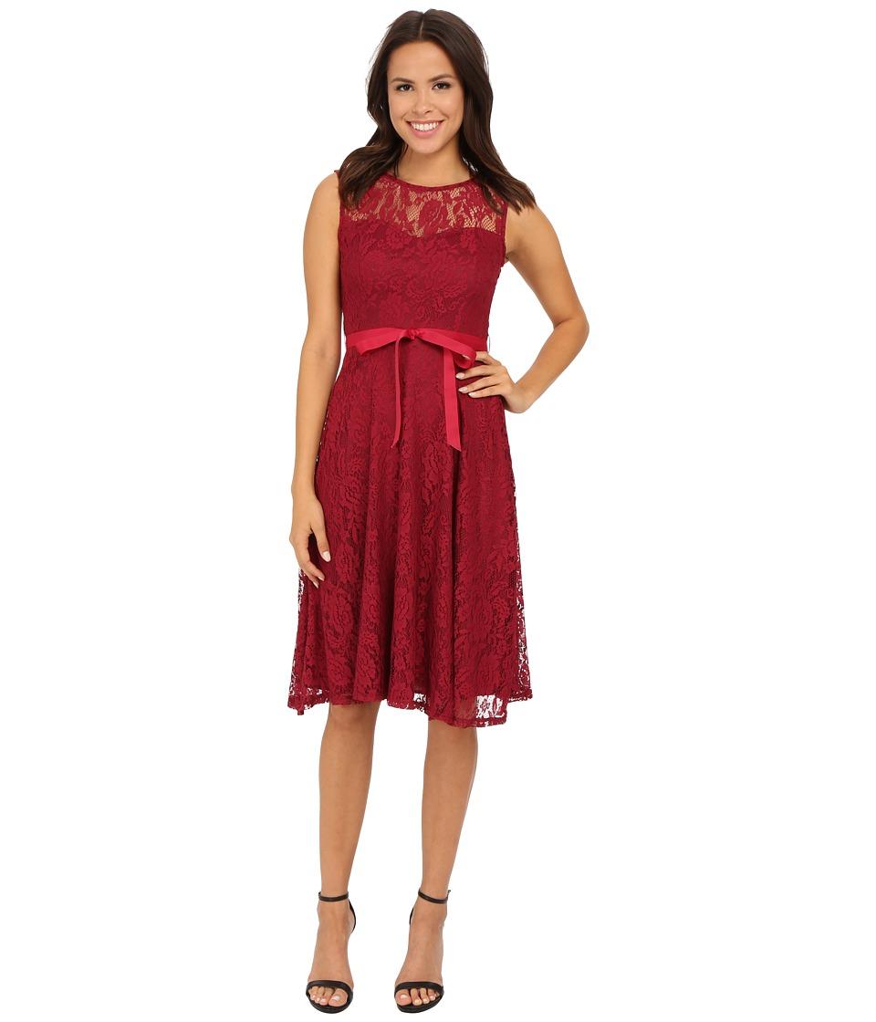 Christin Michaels Faith Lace Sleeveless Dress (Wine) Women