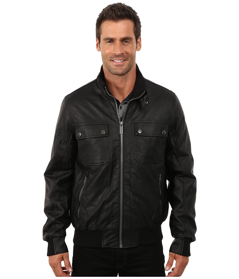 Nautica - PU Zip Front Leather Jacket (Black) Men's Coat
