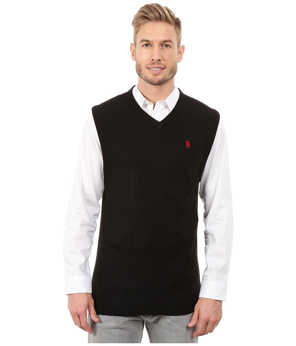 U.S. POLO ASSN. - Solid V-Neck Vest (Black) Men's Vest