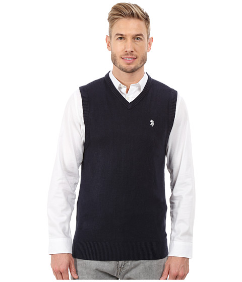 U.S. POLO ASSN. - Solid V-Neck Vest (Navy) Men's Vest