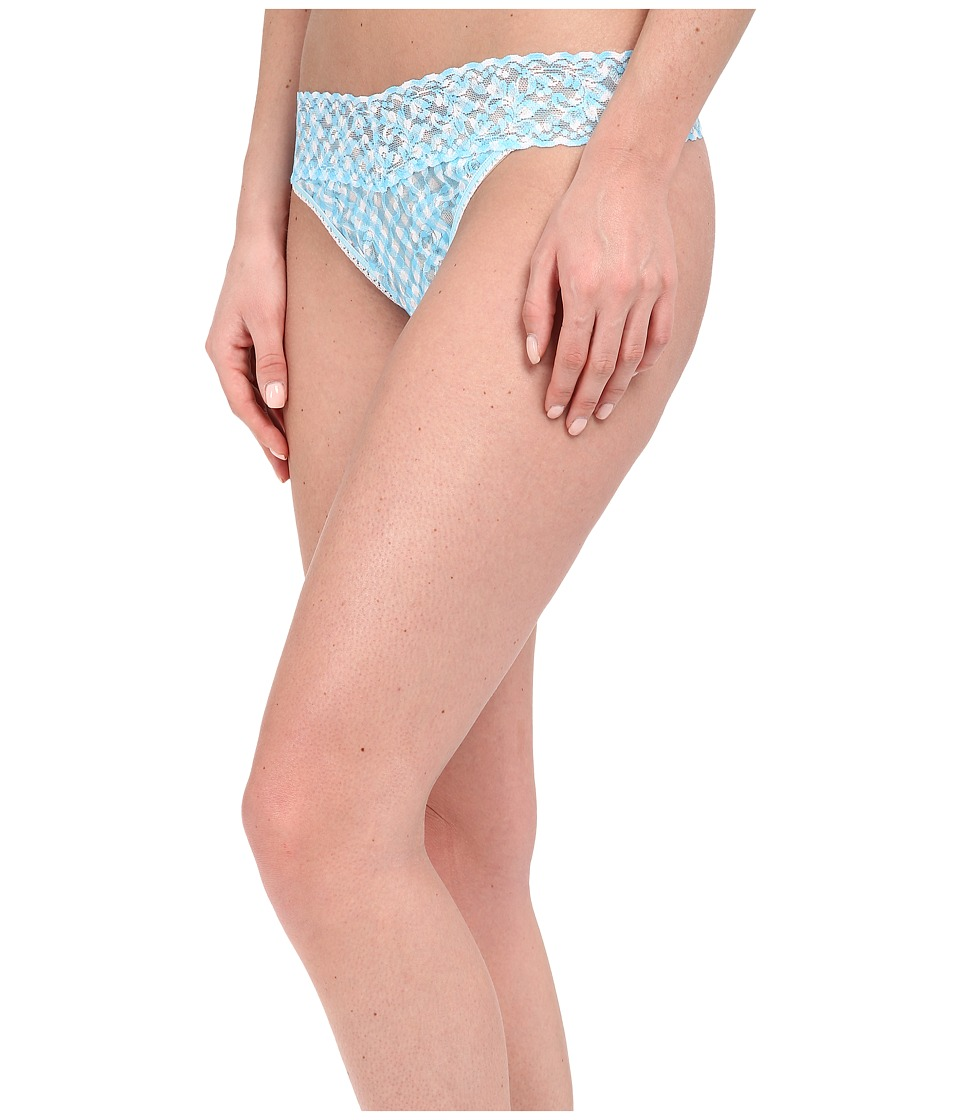 Hanky Panky - Check Me Out Original Rise Thong (Blue/White) Women's Underwear
