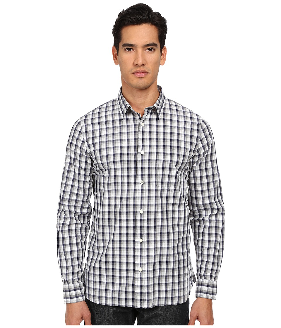 Jack Spade - Clermont Ombre Plaid Shirt (Navy) Men's Long Sleeve Button Up