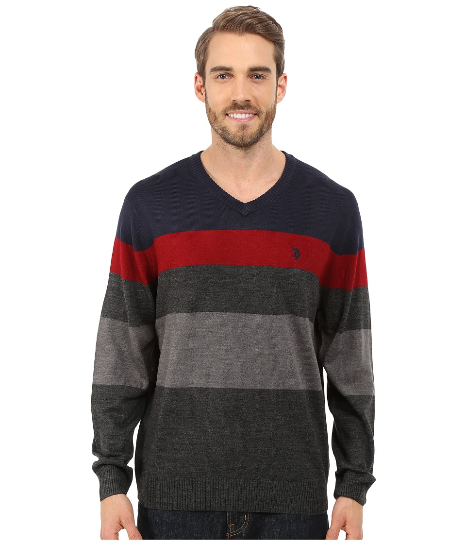 U.S. POLO ASSN. - Long Sleeve Stripe Vee Neck (Navy) Men