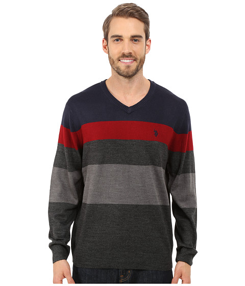 U.S. POLO ASSN. - Long Sleeve Stripe Vee Neck (Navy) Men's Clothing