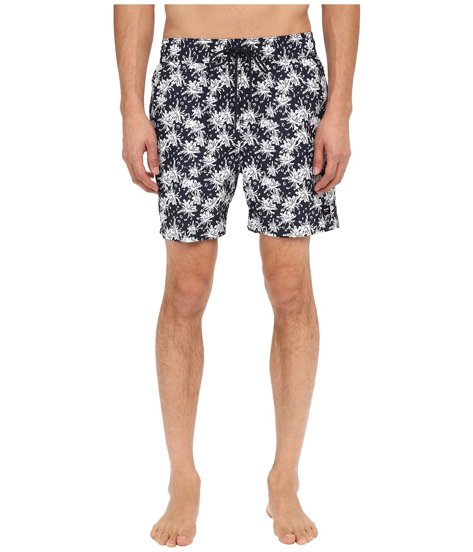 Jack Spade Tropical Floral Grannis Swim Trunks (Navy) Men