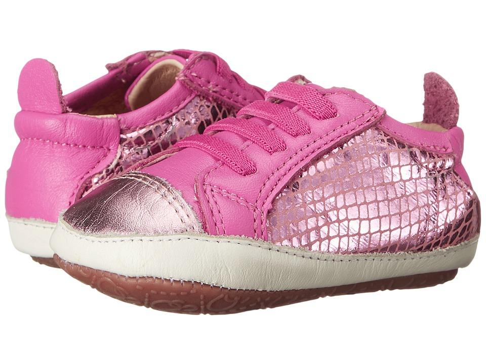Old Soles - Bambini Jogger (Infant/Toddler) (Pink Snake/Pink Frost/Fuchsia) Girl's Shoes