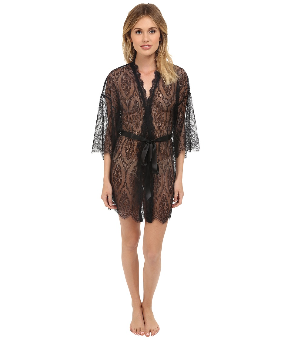 Hanky Panky - Lace Robe (Black) Women's Robe
