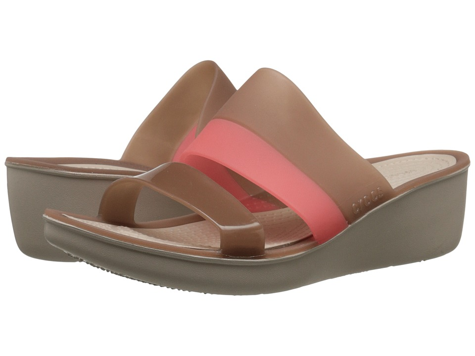 Crocs - Color Block Wedge (Bronze) Women's Wedge Shoes