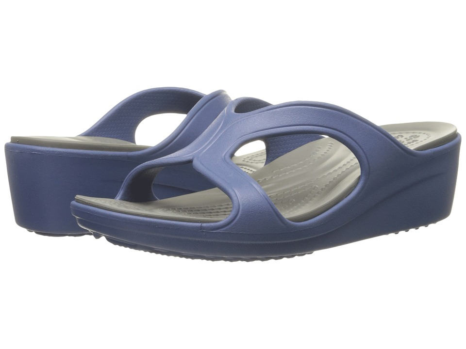 Crocs - Sanrah Wedge Sandal (Bijou Blue/Smoke) Women's Sandals
