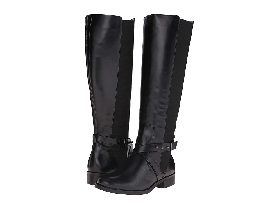 Steven - Sydnee - Wide Calf (Black Leather) Women's Dress Zip Boots