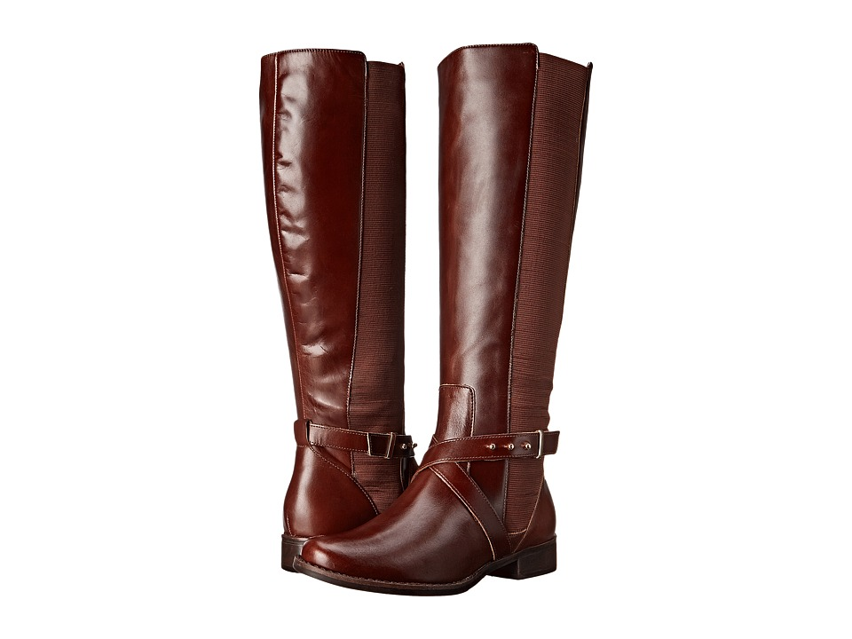 Steven - Sydnee - Wide Calf (Cognac Leather) Women's Dress Zip Boots