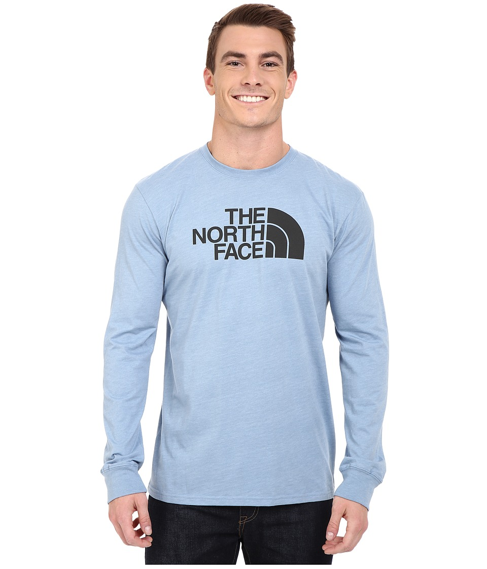 The North Face - Long Sleeve Half Dome Tee (Faded Denim Heather/Asphalt Grey) Men
