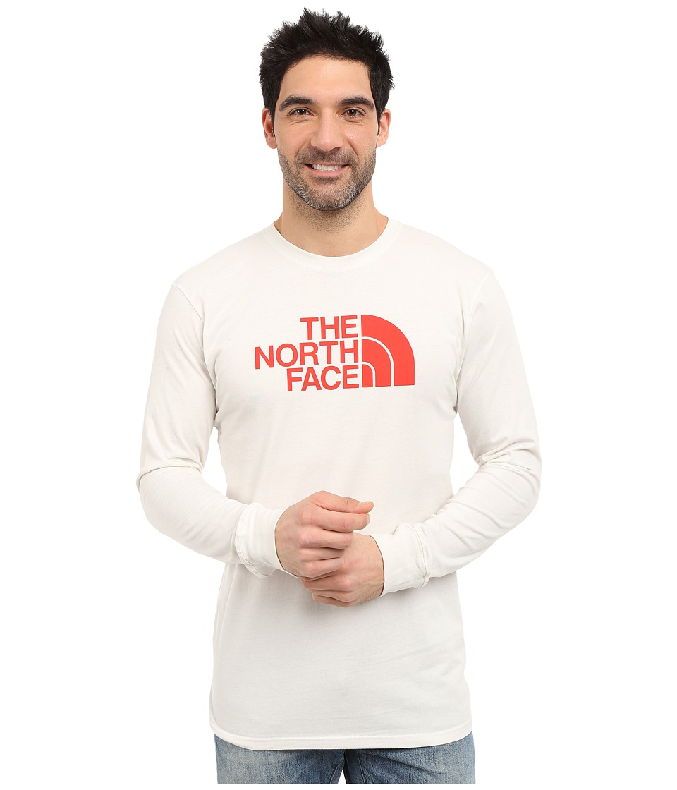 The North Face - Long Sleeve Half Dome Tee (Vaporous Grey/Fiery Red) Men's T Shirt