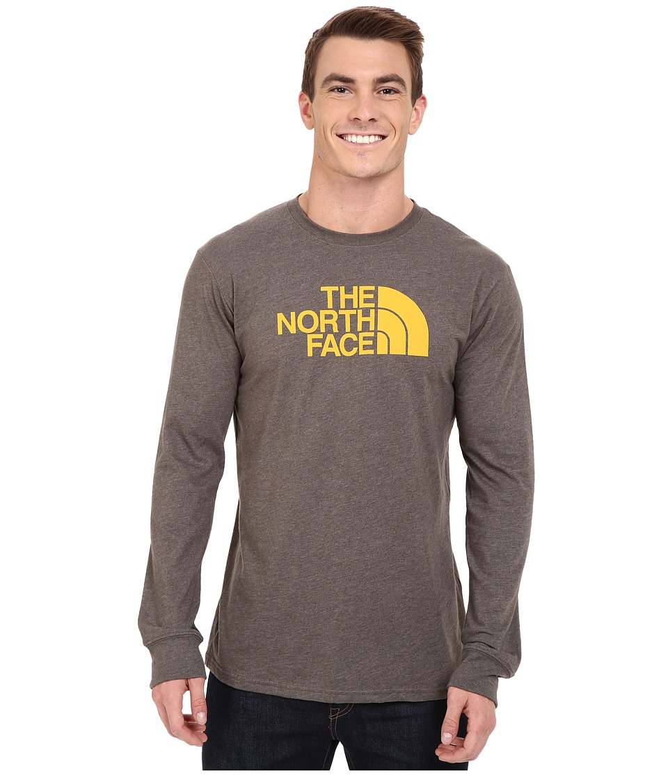 The North Face - Long Sleeve Half Dome Tee (Weimaraner Brown Heather/Citrus Yellow) Men's T Shirt
