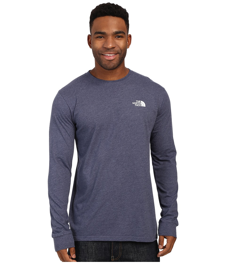 The North Face - Long Sleeve Red Box Tee (Cosmic Blue Heather/Mid Grey) Men's Long Sleeve Pullover