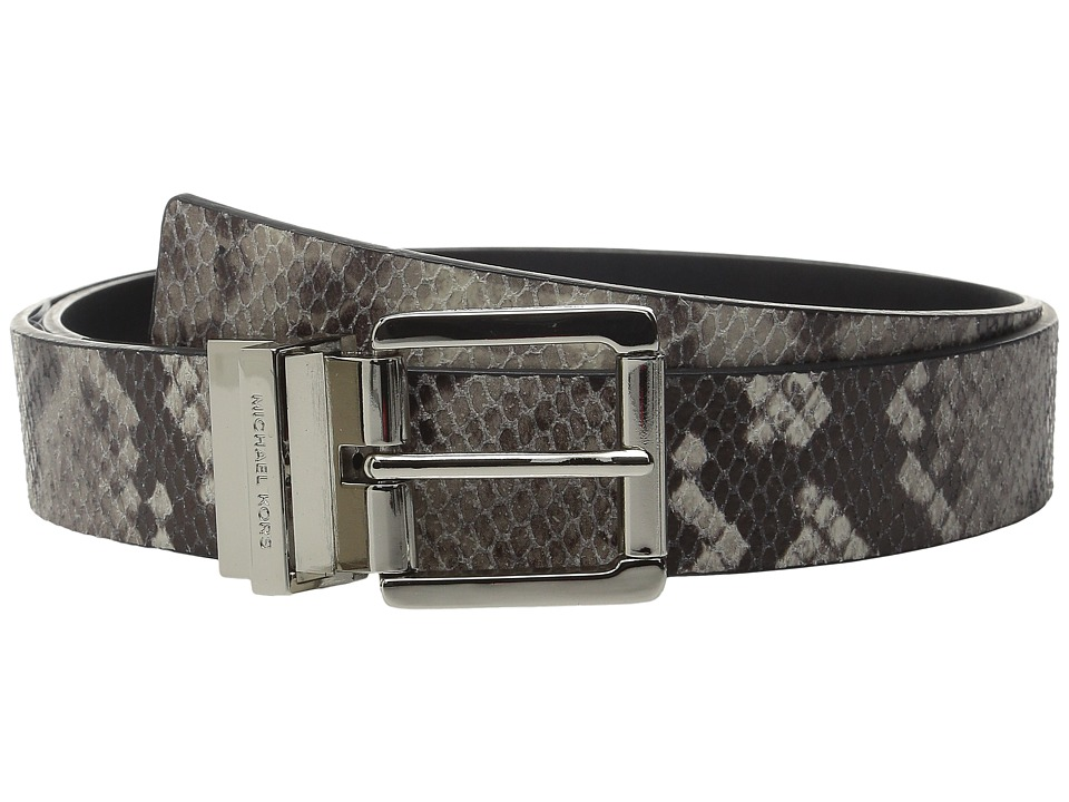 MICHAEL Michael Kors - 32mm Reversible Snake Embossed to Smooth Leather Belt on Roller Buckle (Natural/Black) Women's Belts