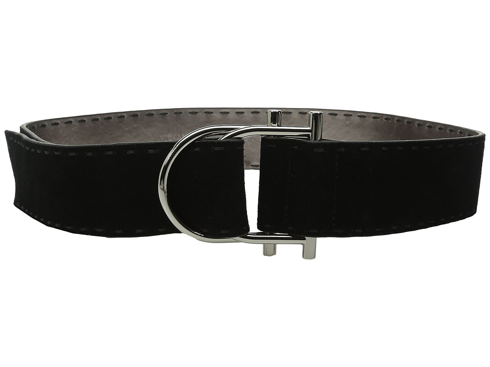 MICHAEL Michael Kors - 50mm Suede Leather Belt with Hand Stitch on Double D-Ring Buckle with Pull Back Closure (Black) Women's Belts
