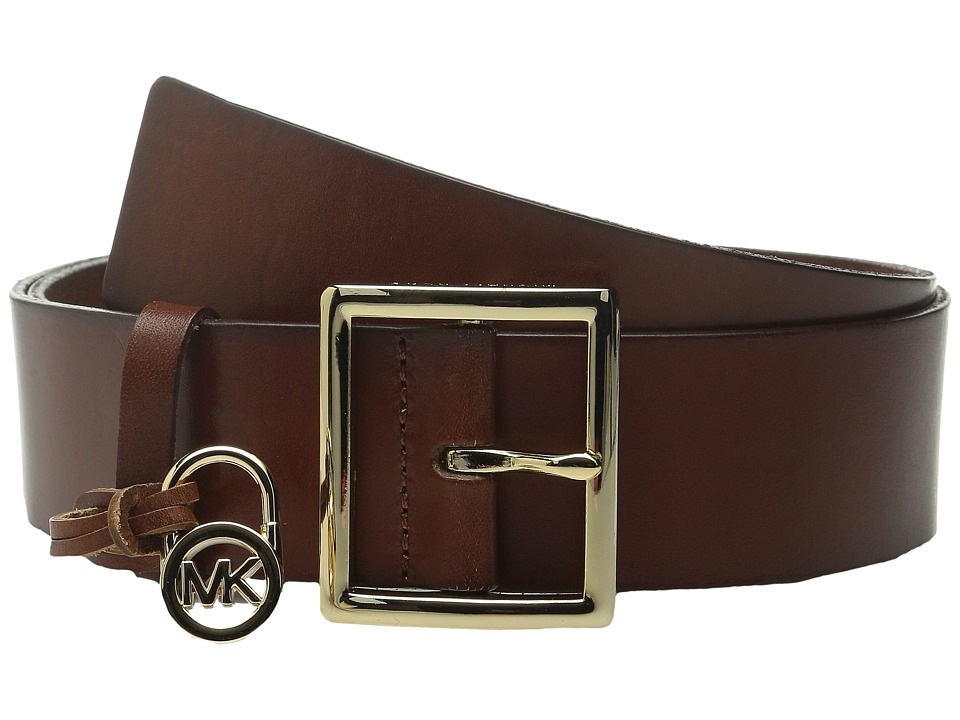 MICHAEL Michael Kors - 44mm Veg Leather Belt with Centerbar Buckle and 7 Holes (Luggage) Women
