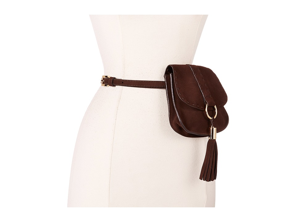 MICHAEL Michael Kors - 13mm Suede Belt Bag with Heavy Stitch Detail and Front Tassel (Chocolate) Women's Belts