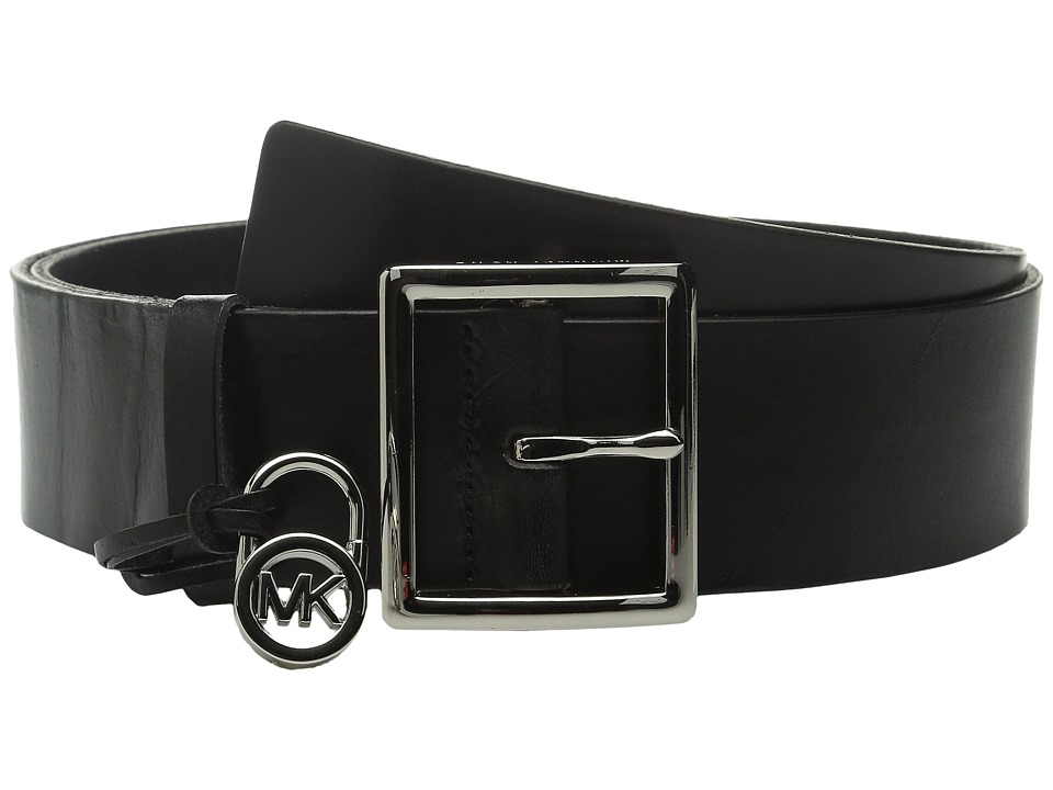 MICHAEL Michael Kors - 44mm Veg Leather Belt with Centerbar Buckle and 7 Holes (Black) Women's Belts